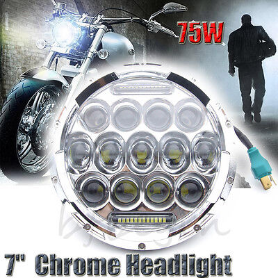 "7"" 75W Chrome Motorcycle Projector Round Daymaker HID LED Headlight For Harley"