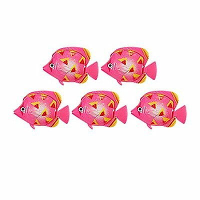 sourcingmap Plastic Tank Fish Ornament, 5 Pieces, Medium  Pink