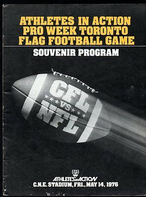 ATHLETES IN ACTION TORONTO 1976 Flag Football NFL vs CFL Program Terry Bradshaw