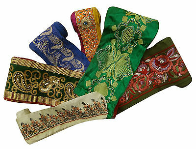 Vintage Indian Style Multicolor Ribbon Wrap Craft Lot Of 6 Pcs Sewing Lace Trim