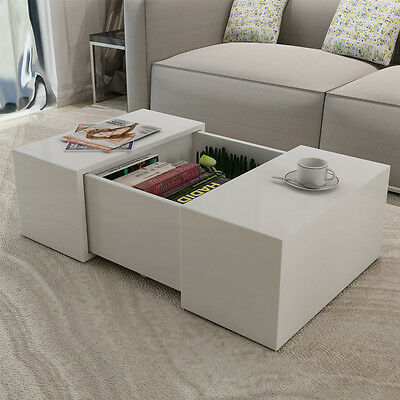 White Walnut High Gloss Coffee Table With 4 Drawers Living Room Space Saver Picclick Uk