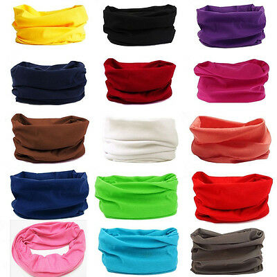 Solid Tube Scarf Bandana Head Face Mask Neck Gaiter Snood Headwear Beanie Unisex