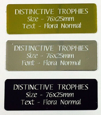 Engraved Metal 76x25mm Aluminium Name Plate Trophy Plaque Photo Frame Engraving