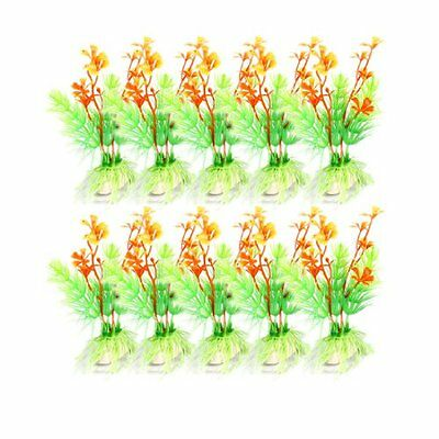 Sourcingmap Plastic Aquarium Plant Ornament, 4.5-inch, 10 Pieces, Green  Orange