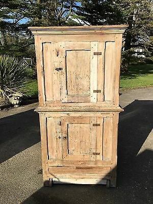 Large Hungarian Antique Elm Food Cupboard On Wooden Wheels.