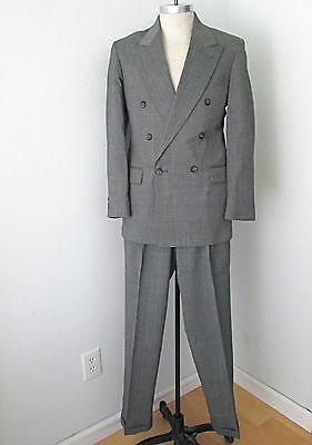 MINTY Vtg 80s New Wave Punk Gray 2-Pc Dbl Breasted Suit Pleated Tapered Pants 38