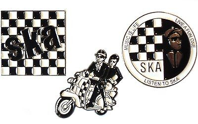MOD 2 Tone Badge Set Chequerboard, Scooter Couple & Music Is Life Listen To SKA