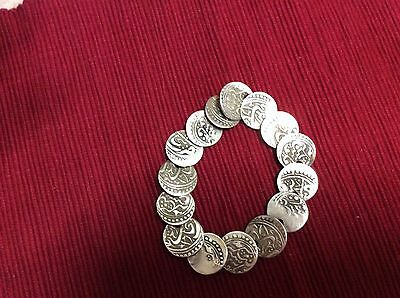Antique  Silver Coins  Braselet   19 Century Russia Turkistan      Us Seller