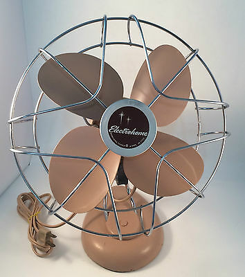 Fan Electrohome Starburst Mid Century Pink Working 1 Speed #60100 OG Paint Cord