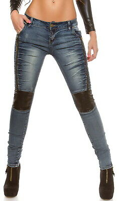 Women's Leather Paneled Zip Slim Skinny Jeans - XS/S/M/L/XL
