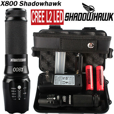 20000lm X800 Shadowhawk XM-L L2 LED Military Tactical Flashlight w/ 2PCS Battery