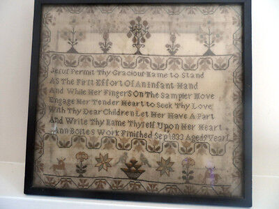 ** 1833 Georgian Sampler By Ann Bolte Age 9 With Verse  **