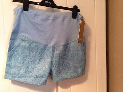 Blue Over Bump Lace Maternity Shorts 10 - 12 Bnwt