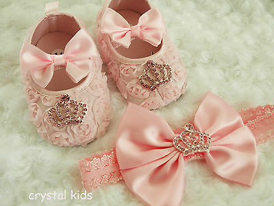 BABY GIRLS PINK CRYSTAL ORGANZA CHRISTENING PRAM SHOES HEADBAND SET 3 Sizes