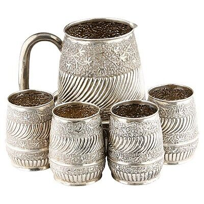 Repousse Silver Water Pitcher & 4 Cups