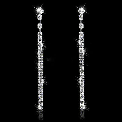 Long Drop Earrings Diamante Bridal Rhinestone Silver Dangle Crystal Party Prom