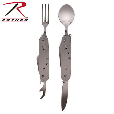 Folding Chow Set Fork And Spoon Camping Pocket Knife Utensil Set Rothco 2033
