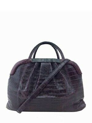 Nancy Gonzalez Crocodile Pleated Framed Large Satchel Bag