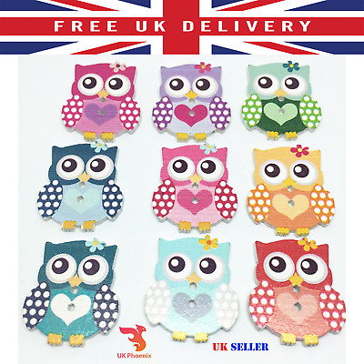 25x30mm 10 20 50 pcs HEART OWL COLOUR BUTTONS 2 Holes Button Sewing Craft
