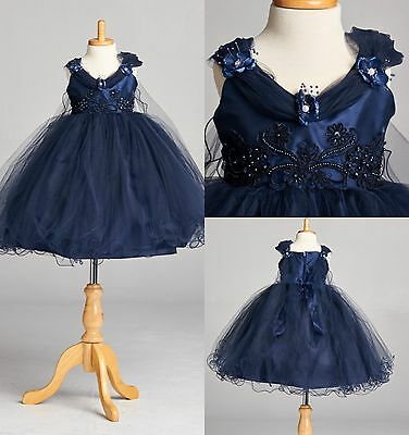 Navy Blue Flower Girl Bridesmaids Summer Pageant Recital Wing App Elegant#33