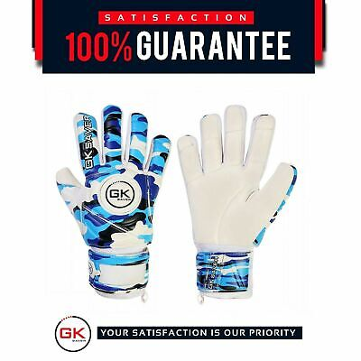 Football Goalkeeper Goalie GK Saver Camo Blue Negative Cut Goalie Gloves Kids FS