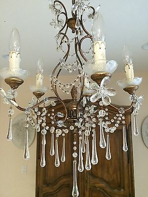 Antique French Italian Beaded Crystal Chandelier Murano Maison Bagues Fleurettes