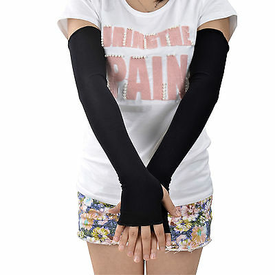 New Women Black Cotton Long Fingerless Sun UV Protection Driving Gloves Mittens
