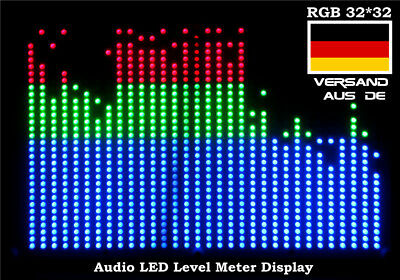 Music 32*32 RGB LED Audio Digital Level Meter Display Spectrum Analyzer Amplifer
