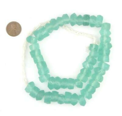 African Clear Marine Faceted Recycled Java Sea Glass Beads  Indonesia