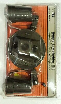 GAMPAK Weatherproof Round lampholder Kit Model 16797 Metal 3 Hole NIB