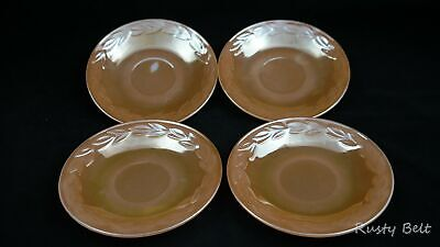 Set of 4 Iridescent Peach Luster Oven Ware Fire King Tea or Coffee Saucers
