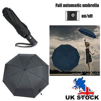 Black Auto Open & Close Windproof Travel Umbrella Compact Folding Mens Womens UK