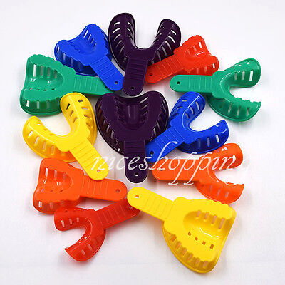 12 Pcs/set Dental Impression Tray Trays Plastic 6 Sizes Autoclavable Adult/Child