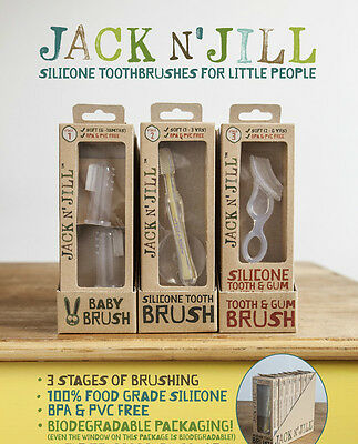 Jack N' Jill [Baby Brush]+ Silicone Brush+ [Tooth & Gum Brush] TRIO ALL 3 STAGES