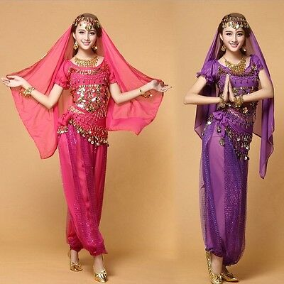 Bollywood Indian Belly Dance Costume set Top+Pants+Belt +Veil Womens clothes set