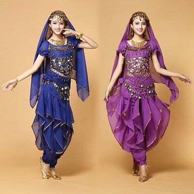 New Bollywood Belly Dance Costume set Top+Pants+Belt +Veil Womens Stage Costumes