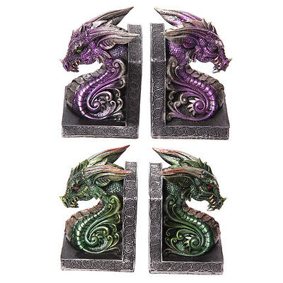 Dark Legends Dragon Head Pair Of Book Ends - Book Shelf Ends Ornament