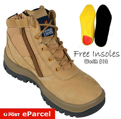 Mongrel Men's 261050 Steel Toe Size Zip Leather Safety Work Lace Up Ankle Boot
