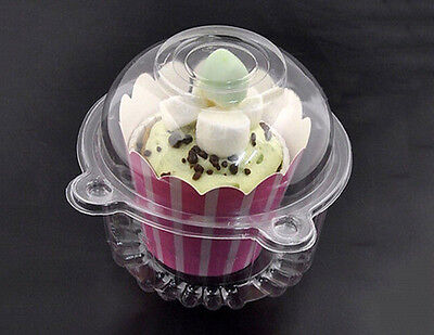 Clear Plastic Cupcake Cake Case Muffin Pod Dome  Box Container YECL 10Pcs