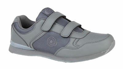 Mens DEK Bowls Grey Bowling Sports Velcro Shoes Trainers