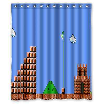 New Design Custom Super Mario Game Waterproof Fabric Shower Curtain 60x72 inch