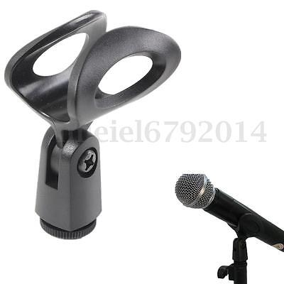Flexible Microphone Clip Holder Mount Mic Stand Clamp Accessory Plastic Black UK