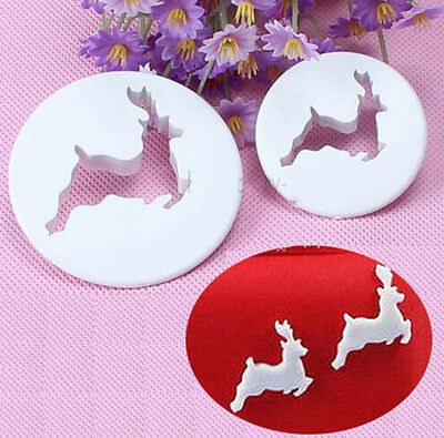 Decorating  Deer Fondant Cupcake Cookie Cutter Tool Craft Toppers 0528