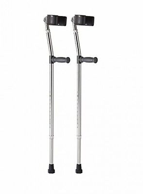 Medline MDS805161 Telescoping Adult Fore Arm Crutches Pair Vinyl Coated Aluminum