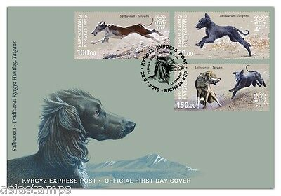 First Day Cover. Kyrgyz Hunting. Taigan dogs. Kyrgyz Express Post 2016