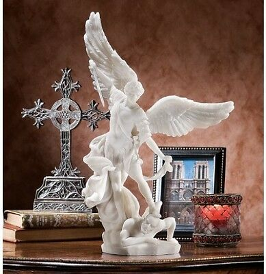 "Bonded Marble St Michael the Archangel Angel Statue 15"" High Home Gallery Garden"