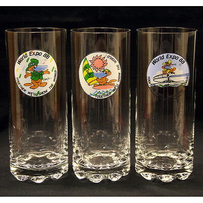 World Expo 88 Collectable Drinking Glasses Cups Brisbane Souvenir
