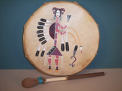 Navajo Painted Hunchback Yei on Cochiti Drum by Frank Martin, NEW