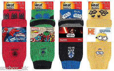 New! Boys Kids Heat Holders Star Wars, Spiderman, Minions Thermal Slipper Socks