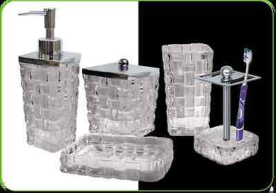 NuSteel Basket Weave Clear Collection 3-Piece Bathroom Accessories Set